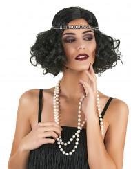 Perruca preta charlestone para mulher