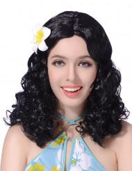 Peruca preta com flor mulher