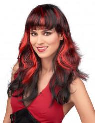 Peruca preta com franjas e madeixas vermelhas mulher
