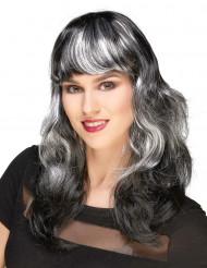 Peruca preta com franjas e madeixas brancas mulher