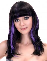 Peruca preta com franja e madeixas violetas mulher