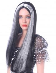 Peruca comprida preta e branca mulher