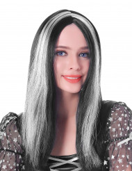 Peruca comprida preta e branca mulher- 45cm