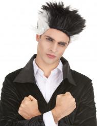 Peruca vampiro preta e branca homem Halloween