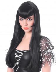 Peruca vampira comprida preta com franja mulher Halloween
