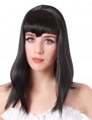 Peruca comprida preta com franja vampiro mulher