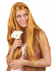 Peruca comprida hippie ruiva mulher