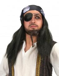 Peruca pirata com bandana caveira