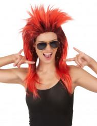 peruca cantora de rock vermelha e preta mulher