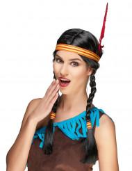 Peruca índia com pluma mulher