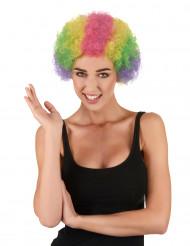Peruca afro multicolorida para palhaço em tamanho de adulto