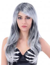 Peruca cinzenta comprida ondulada mulher Halloween