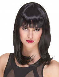Peruca de luxo preta semi-longa mulher- 170 g