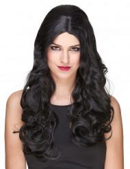 Peruca de luxo longa preta encaraculada para mulher - 251g