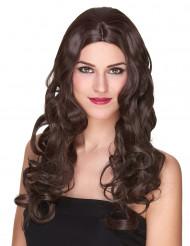 Peruca de luxo castanha comprida encaracolada mulher-215g