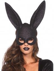 Máscara coelho preto brilhantes adulto