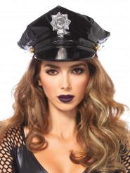 Chapéu de policia em vinyle para adulto