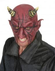 Meia máscara de látex demónio adulto Halloween