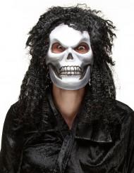 Máscara caveira cabeluda adulto Halloween