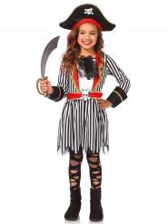 Disfarce pirata às riscas pretas e brancas menina