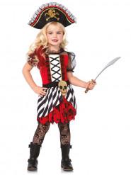 Disfarce de pirata vermelho e branco para menina