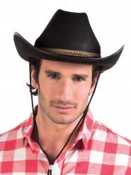 Chapéu cowboy preto com fita castanha adulto