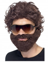 Peruca com barba castanha adulto