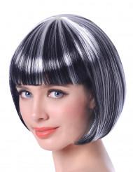 Peruca curta madeixa preta e branca mulher