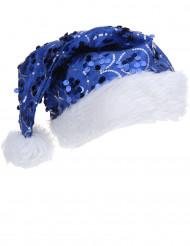 Gorro azul com lantejoulas adulto Natal