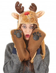 Gorro com cachecol Rena adulto Natal
