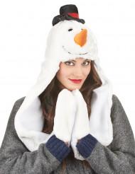 Gorro com cachecol boneco de neve adulto Natal