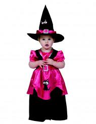 Disfarce pequena bruxa rosa Halloween