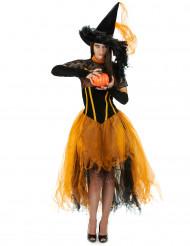 Disfarce de bruxa laranja mulher Halloween
