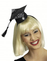 Mini chapéu estudante brilhante mulher