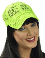 Boné de renda verde fluo mulher
