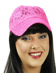 Boné de renda cor-de-rosa fluo mulher