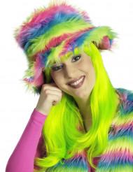 Chapéu pelúcia arco-íris adulto