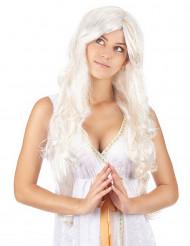 Peruca comprida anjo com fios dourados mulher