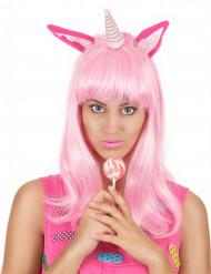 Peruca comprida cor-de-rosa unicórnio mulher