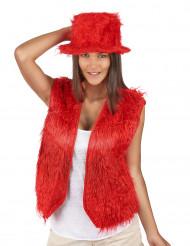 Colete pelúcia vermelho adulto