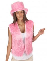 Colete pelúcia cor-de-rosa adulto