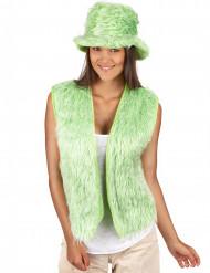 Colete pelúcia verde adulto