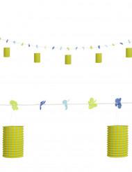 Grinalda de flores e de lanternas verde e amarela