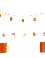 Grinalda de flores e de lanternas cor de laranja