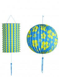 2 Lanternas azuis e amarelas Havaí