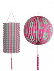 2 Lanternas verde e cor-de-rosa