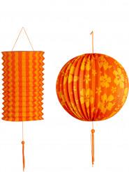 2 Lanternas cor de laranja e amarela