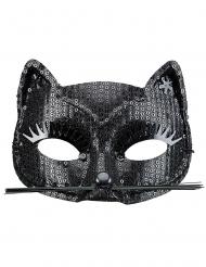 Mascarilha gato preto com lantejoulas adulto