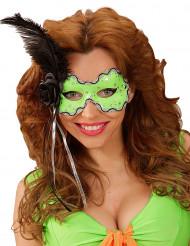 Mascarilha verde com pena preta mulher