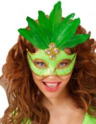 Mascarilha verde com penas mulher